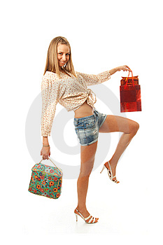 The Young Beautiful Girl With A Bags Isolated Stock Photography - Image: 13873092