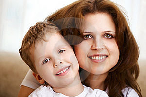 Mother Hugging Her Little Son Royalty Free Stock Photo - Image: 13873595