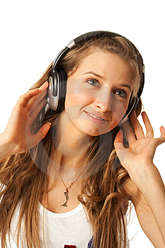 The Young Beautiful Girl With Headphones Isolated Royalty Free Stock Photo - Image: 13874815