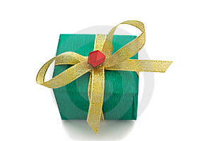 Green Gift Box Tied Golden Ribbon Royalty Free Stock Image - Image: 13875626
