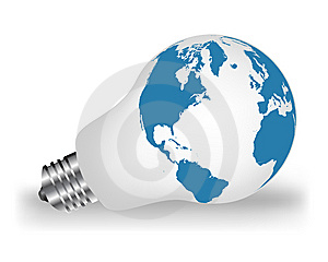 Lightbulb With Map Stock Photos - Image: 13877043