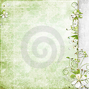 Green Background With Cherry Flowers Royalty Free Stock Photo - Image: 13877055