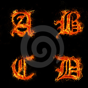 Letters A-D In Flames Stock Photos - Image: 13877613