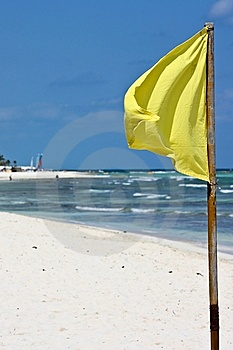 Yellow Flag On Beach Stock Images - Image: 13877794