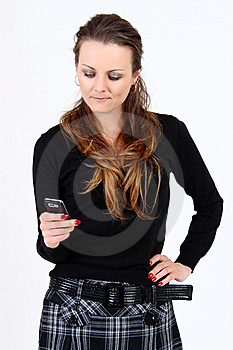 The Attractive Woman With A Mobile Phone Royalty Free Stock Image - Image: 13883946