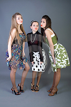 Three Happy Retro-styled Girls Stock Photo - Image: 13886110