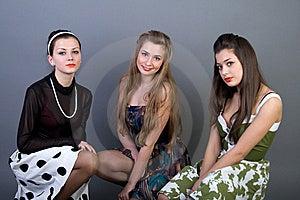 Three Happy Retro-styled Girls Royalty Free Stock Images - Image: 13886129