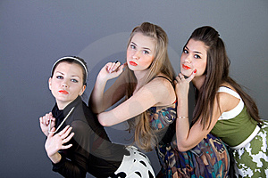 Three Happy Retro-styled Girls Royalty Free Stock Photo - Image: 13886155