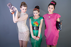 Three Happy Retro-styled Girls Stock Images - Image: 13886214