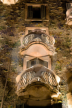 Casa Batllo At Night Royalty Free Stock Photography - Image: 13890547