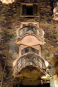 Casa Batllo At Night Royalty Free Stock Photography - Image: 13890547