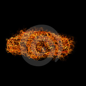 Fire Car Stock Photography - Image: 13893342