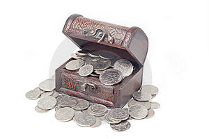 Malaysia Coins In Treasure Chest Royalty Free Stock Photography - Image: 13893627