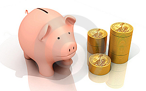Piggy Bank And Gold Coins Royalty Free Stock Image - Image: 13896316