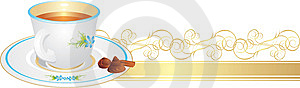 Cup With Tea And Candies On The Golden Ribbon Stock Images - Image: 13898524