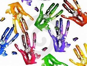Coloured handprints Free Stock Photo