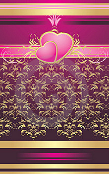 Two Pink Hearts With Ornament. Wrapping Royalty Free Stock Photography - Image: 13899927