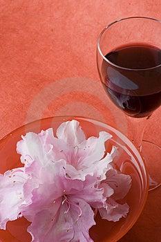 White Azaleas, Red Bowl, Glass Of Wine Stock Photos - Image: 1395243