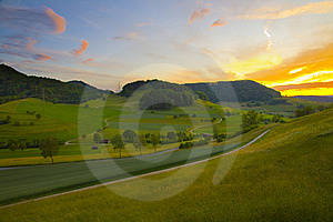 Colorful Sunset On The Field Stock Images - Image: 13905544