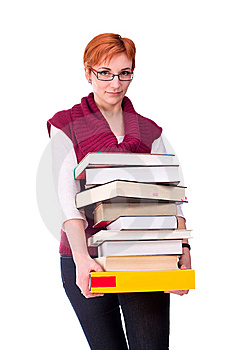 Young Woman Carries Books Stock Image - Image: 13921221