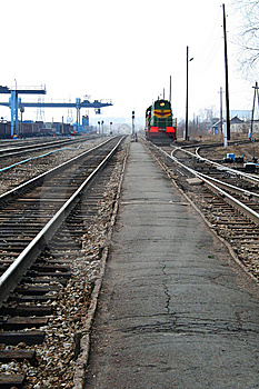 The Train Is On Rails Royalty Free Stock Photo - Image: 13922795