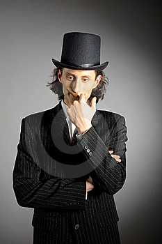 Young Intelligent Gangster Man With Cigare Royalty Free Stock Images - Image: 13924119