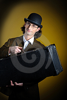 Young English Retro Gentleman With Luggage Royalty Free Stock Photos - Image: 13924198