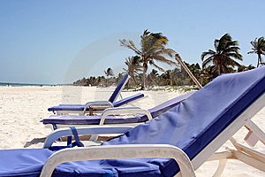 Deckchairs On The Beach Stock Photography - Image: 13924432