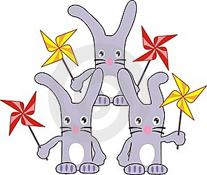 Three Rabbits (hares) With Spinners Royalty Free Stock Photography - Image: 13924617
