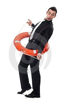 Funny Businessman Inside Lifebuoy Royalty Free Stock Photography - Image: 13925747