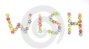 Color Lucky Stars Origami Font Wish Royalty Free Stock Photo - Image: 13925845