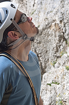 Climber Previewing A Route Stock Image - Image: 13928681