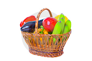 Basket With Vegetables And Fruit Royalty Free Stock Image - Image: 13929906