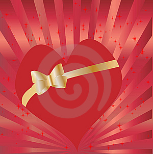 Heart With Golden Bow Royalty Free Stock Image - Image: 13930666