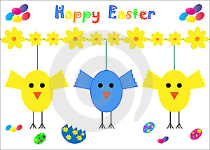 Happy Easter Card Chicks Stock Images - Image: 13930744