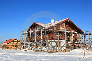 House Constraction In Winter Stock Photography - Image: 13931262