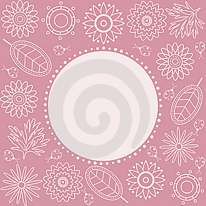Pink Floral Frame. Royalty Free Stock Photography - Image: 13932597