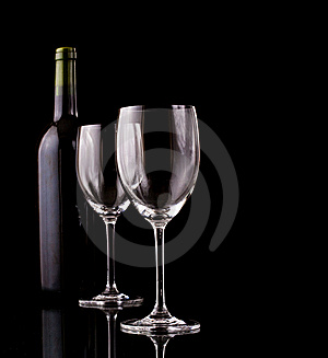 Bottle And Glass Of Red Wine Stock Images - Image: 13932604