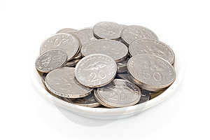Malaysia Coins In White Plate Stock Image - Image: 13936691