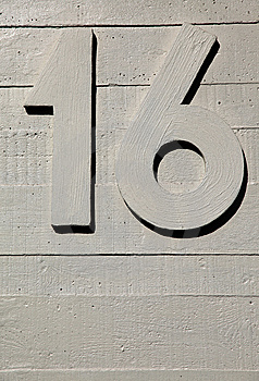 Number Sixteen Concrete Wall Royalty Free Stock Photo - Image: 13940555