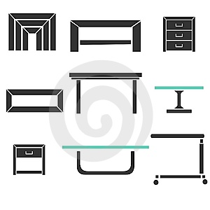 Modern Tables Set Royalty Free Stock Photography - Image: 13940727