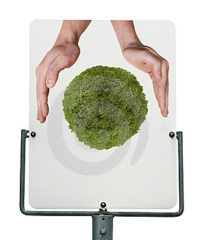 Sign With Hands Protecting Green Planet Stock Photos - Image: 13942083