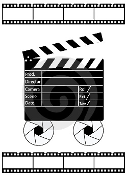 Movie Director Clapperboard And Film Strip Stock Photo - Image: 13943250