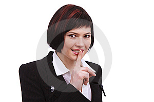 Shhh... Businesswoman With Her Finger On Lips Stock Images - Image: 13945994