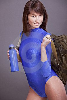 Woman With Sport Bag And Bottle Stock Photo - Image: 13947980