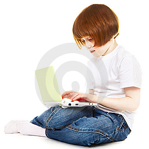 Little Girl Using Laptop Stock Images - Image: 13948024
