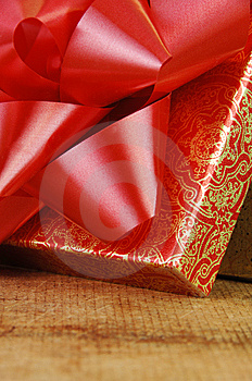 Red Bow On Open Gift Box Stock Images - Image: 13948194