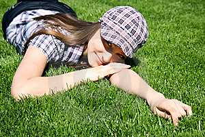 Pretty Girl On The Green Grass Royalty Free Stock Photo - Image: 13949365