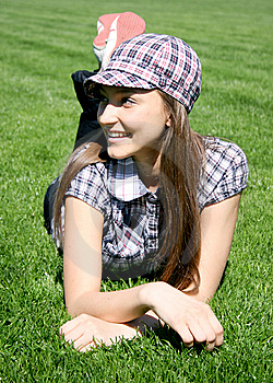 Young Caucasian Girl On The Grass Stock Images - Image: 13949394