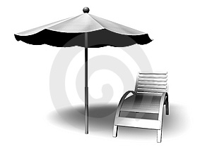 Beach Parasol And Deckchair Royalty Free Stock Images - Image: 13950929